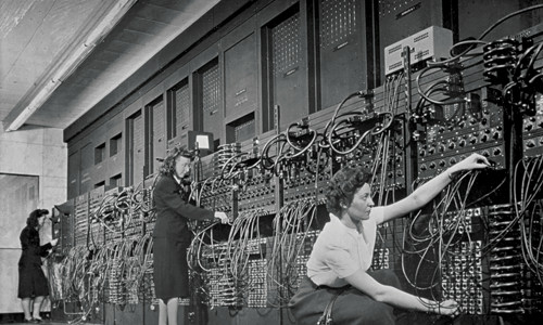Women working with an Eniac, the world's first programmable general-purpose computer